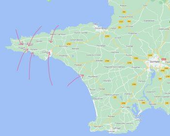Karte von Cap-Sizun mit den Standorten von den Ferienhäusern
